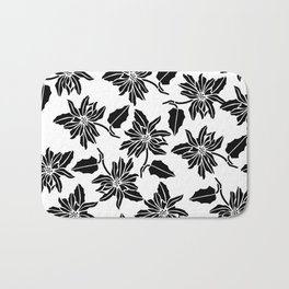 Black white modern vector poinsettia floral pattern Bath Mat