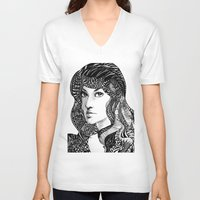 oriental V-neck T-shirts featuring Oriental by Judy Hung