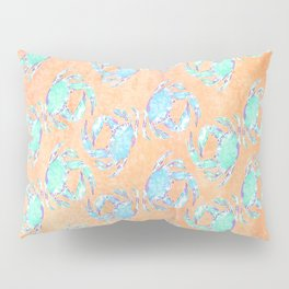 Crab orange blue nautical Pillow Sham