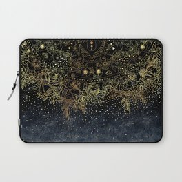 Stylish Gold floral mandala and confetti Laptop Sleeve