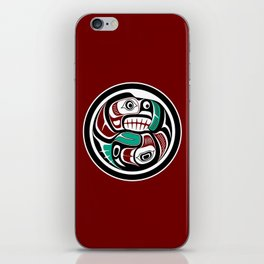 Northwest Pacific coast Otter chasing Salmon iPhone Skin