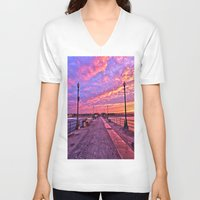 calendars V-neck T-shirts featuring Sunrise Huntington Beach Pier   11/12/13 by John Minar Fine Art Photography