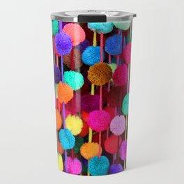 Rainbow Pom-poms (Horizontal) Travel Mug