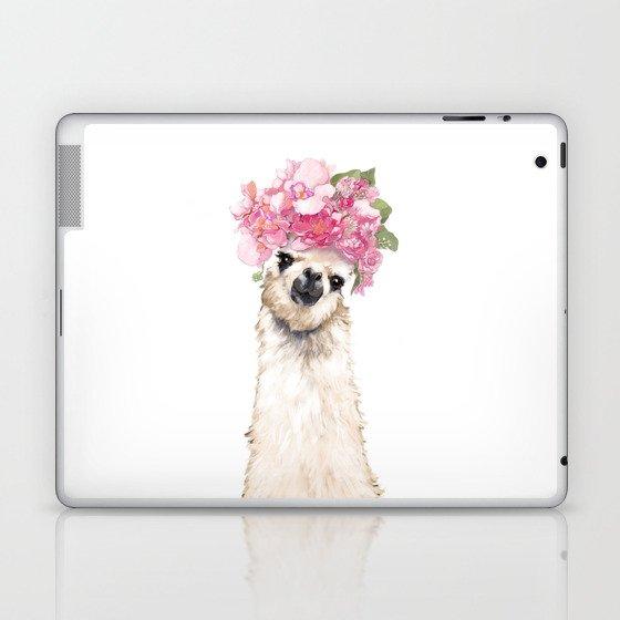 Llama with Beautiful Flowers Crown Laptop & iPad Skin