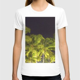 Tropical Palm trees lighted at night T-shirt