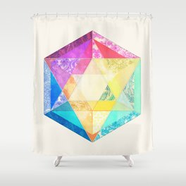 Retro Rainbow Patchwork Hexagon Shower Curtain