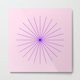 SpikeyBurst - Pastel Pink Background with Purple Metal Print