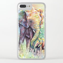 Colorful Mother Elephant and Baby Clear iPhone Case