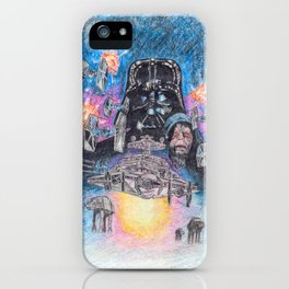 'The Empire Strikes Back' montage - Drawing in colour pencil iPhone Case