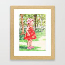 Little Miss Butterfly Framed Art Print