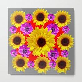 RED-GREY PURPLE FLOWERS & SUNFLOWERS DECO ART Metal Print