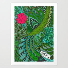 Ornate pattern- coloured 2 Art Print