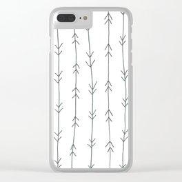 Grey, Steel: Arrows Pattern Clear iPhone Case