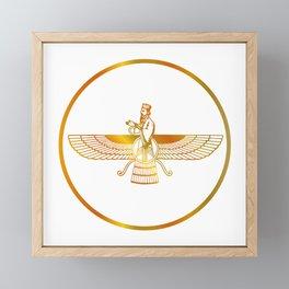 Prophet Zarathustra, Zarathushtra Spitama, or Ashu Zarathushtra- symbols of Zoroastrianism Farvahar Framed Mini Art Print