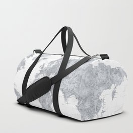 "Gray watercolor highly detailed world map, ""Jimmy"" Duffle Bag"