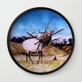 Elk and child Wall Clock