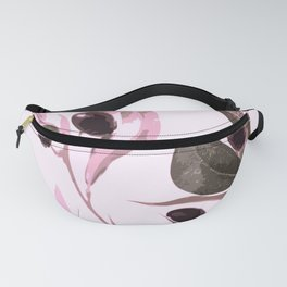 Olive tree branch with pink tones on white background Fanny Pack