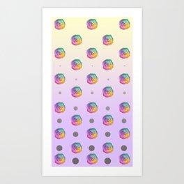 Rainbow Rose and Polka Dots Art Print