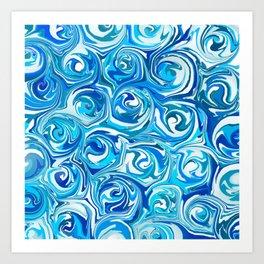 Aqua Blue Swirling Water Abstract Art Print