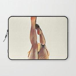 8283s-SLG Legs Up Woman in Mesh Stockings Watercolor Render Laptop Sleeve