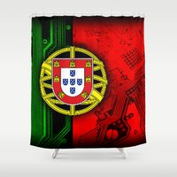 portugal Shower Curtains featuring circuit board Portugal (Flag) by seb mcnulty
