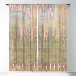 Vintage Lawn Tennis Poster Sheer Curtain