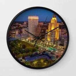 Providence, Rhode Island Night Skyline Wall Clock