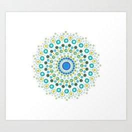 Dotty Mandala Green Art Print