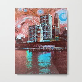 Starry Night Over San Francisco California Skyline-Red and Blue Metal Print