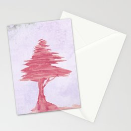 Red Tree watercolor on old paper Stationery Cards