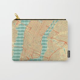 New York Map Retro Carry-All Pouch