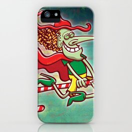 Halloween witch flying on a Christmas candy cane iPhone Case