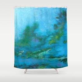 Light Blue Monet´s Theme of Waterlilies Shower Curtain