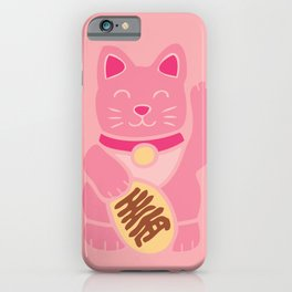 Lucky Cat in Pastel Pink iPhone Case
