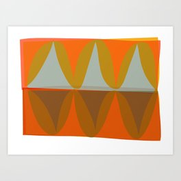 Orange and Blue Eliptical Art Print