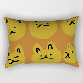 Weird Cat Faces - Sienna brown and burnt mustard Rectangular Pillow