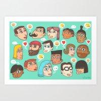 emoji Art Prints featuring emoji talk by Hugo Lucas