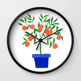 Little orange tree: potted plant VII Wall Clock