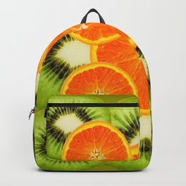 GREEN KIWI & JUICY ORANGE SLICES MODERN ART Backpack
