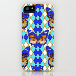 ARGYLE ABSTRACTED  BROWN SPICE  MONARCHS BUTTERFLY & BLUE-WHITE iPhone Case