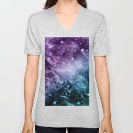 Purple Teal Galaxy Nebula Dream #4 #decor #art #society6 Unisex V-Neck