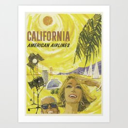California, American Airlines - Vintage Travel Poster Art Print