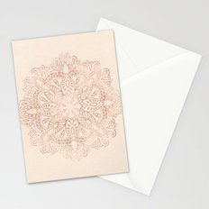 Mandala Rose Gold Pink Shimmer on Light Cream Stationery Cards