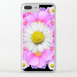 Ebony Black  Color Shasta Daisys & Rose Pattern Garden Art Clear iPhone Case