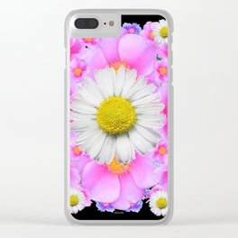 Ebony Black  Color Shasta Daisys & Rose Pattern Garden Art Clear iPhone Case