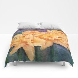 YELLOW DAFFODIL FLOWERS in WATERCOLORS Comforters