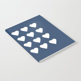 16 Hearts White on Navy Notebook