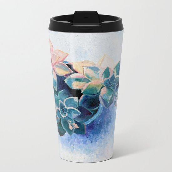 Pastel Succulents - an oil painting on canvas Metal Travel Mug