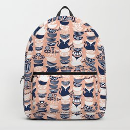 Swedish folk cats V // flesh background Backpack