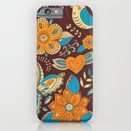Floral Khokhloma pattern iPhone Case